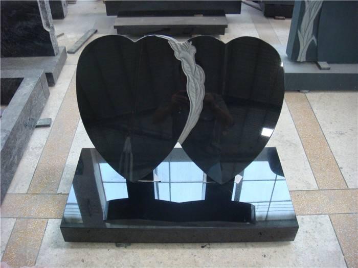 European style double heart headstone black monument granite tombstone