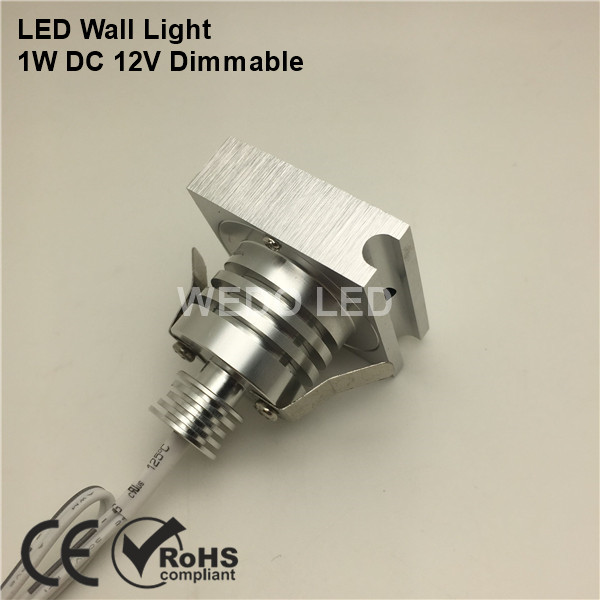 Dimmable Silver Recessed 12V 1W LED Stair Wall Light