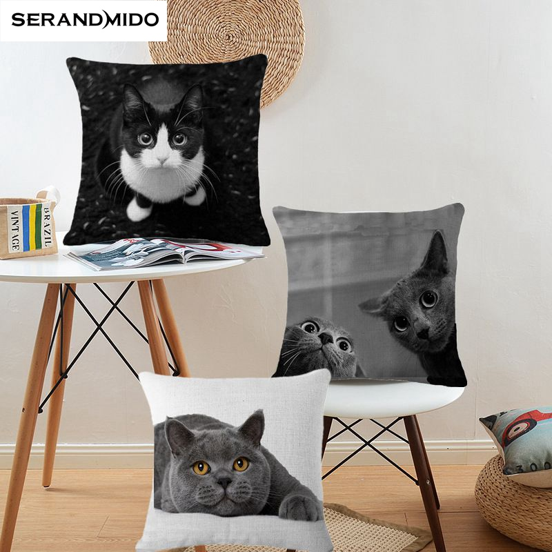 Cats Cushion Cover 3D Effect Printed Animal Fundas Cojins Cotton Linen Decorative Pillows Case