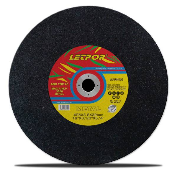 T41 16''Abrasive Cutting Wheels for Metal 405*3.8*32mm with MPA, EN12413