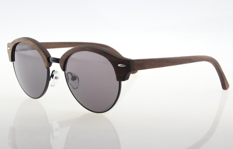wood half rim round style sunglasses