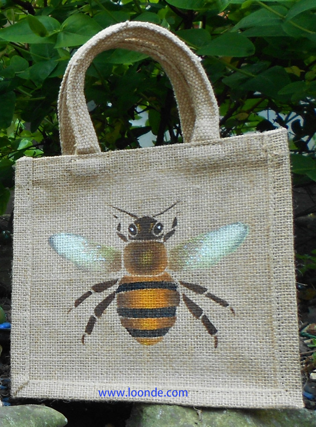 Bee honey hand painted little Jute Bag eco child lunch
