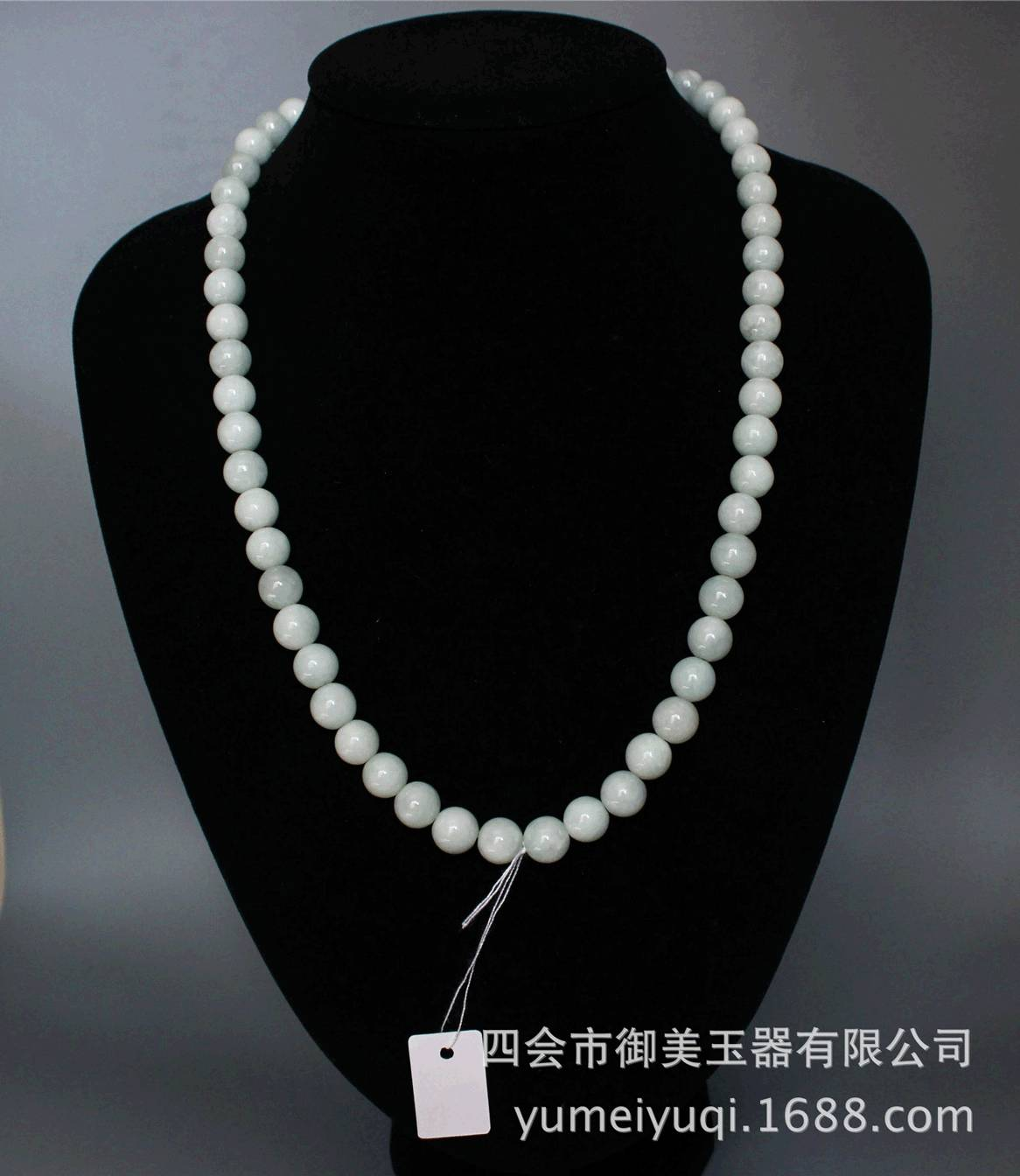 9mm natural women green jade necklace