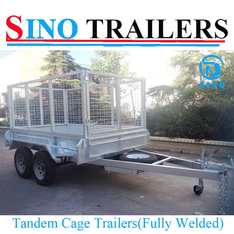 10X5 Hot Dipped Galvanized Tandem Axle Heavy Duty Cage Trailer with Spare Wheel