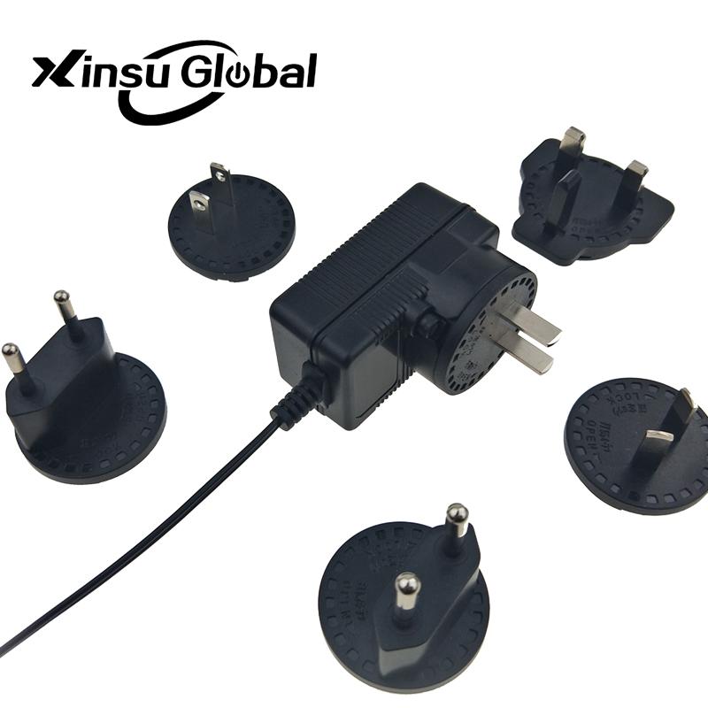 US AU EU UK 3.2V 1A Interchangeable Plug Power Adapter