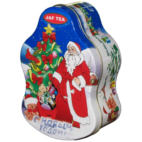santa shape chocolate tin packaging container