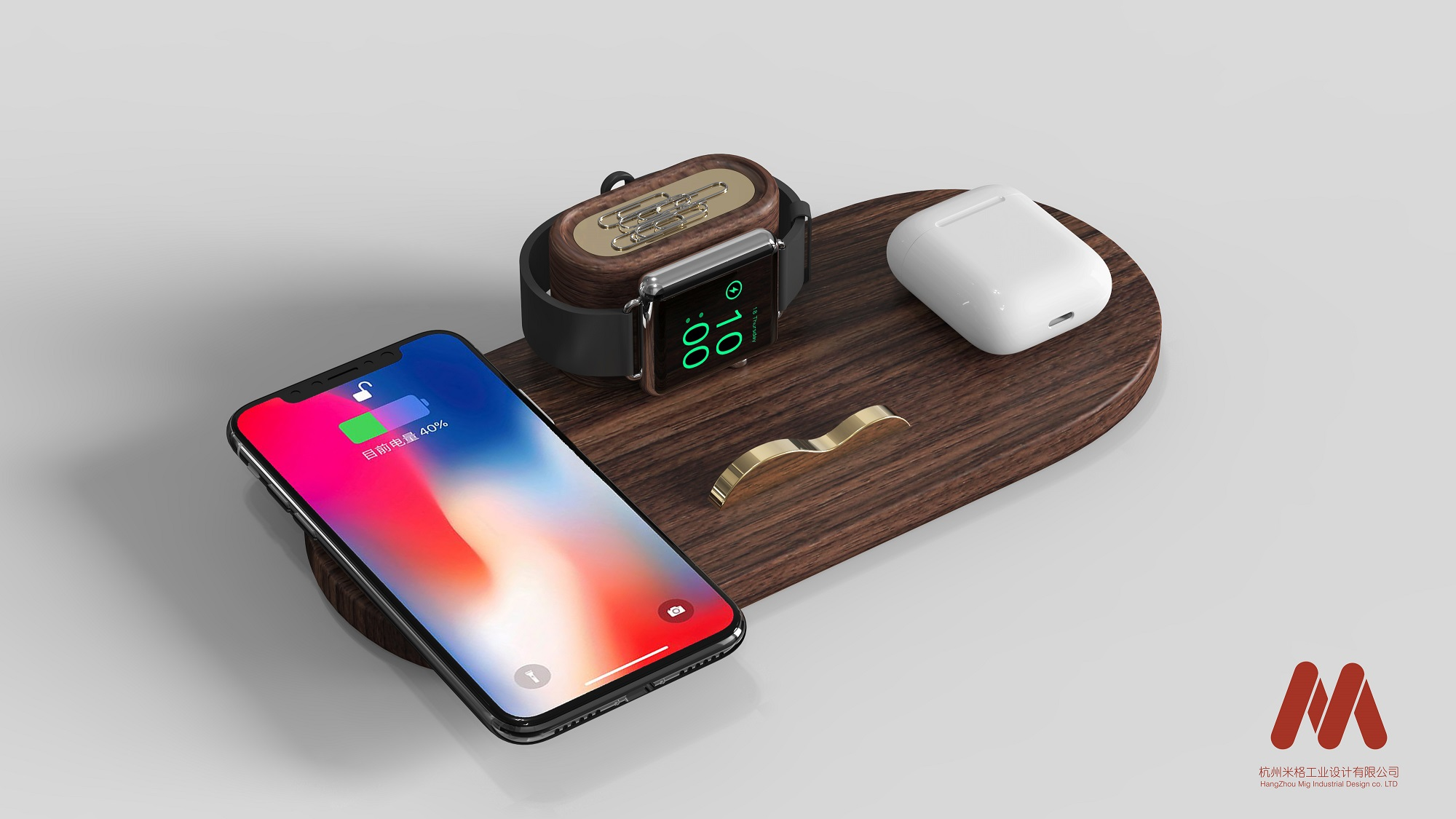 wood-maded 3-in-1/4-in-1 wireless charger Qi compatible