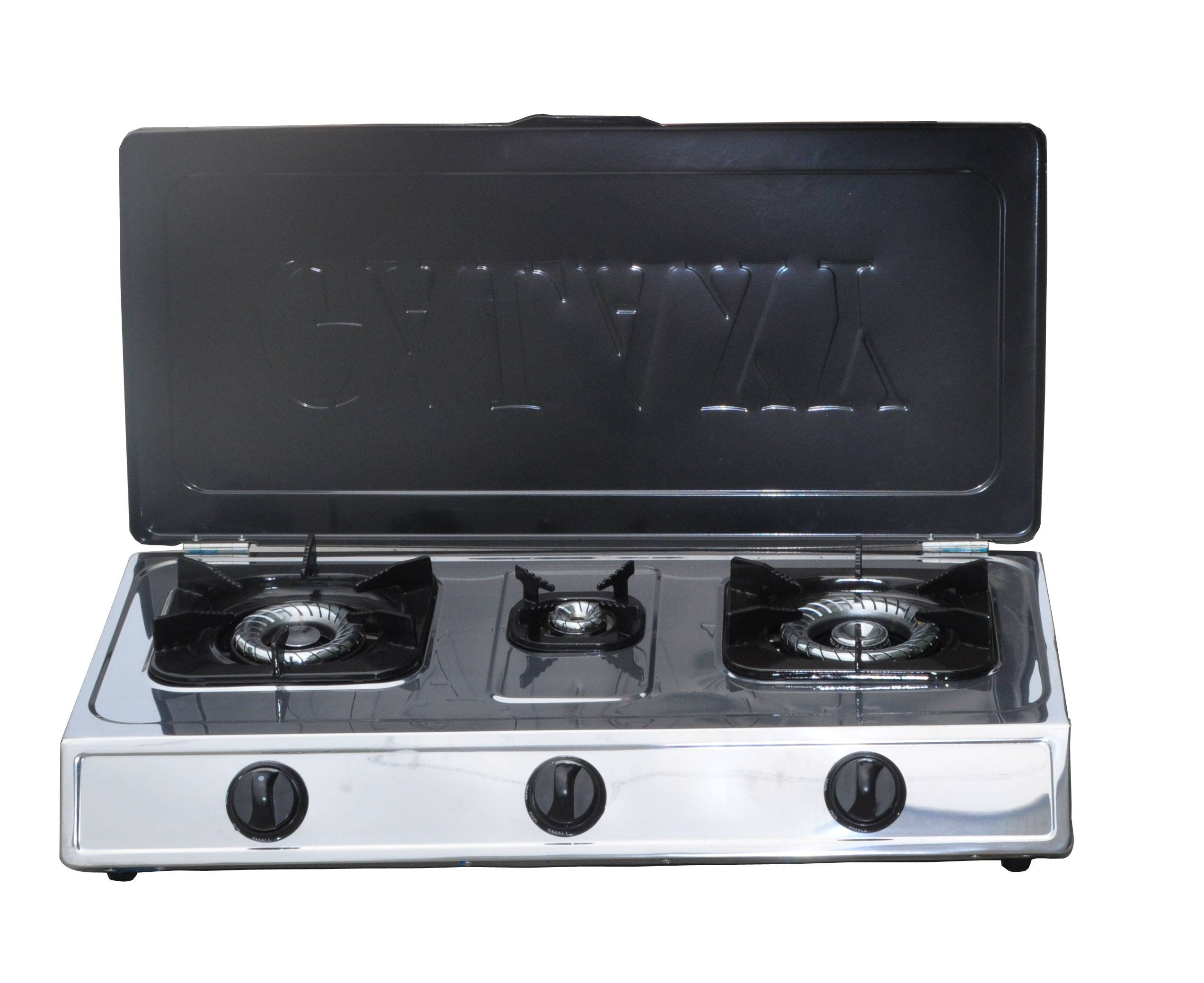 Stainless steel gas stove cooktop with cover