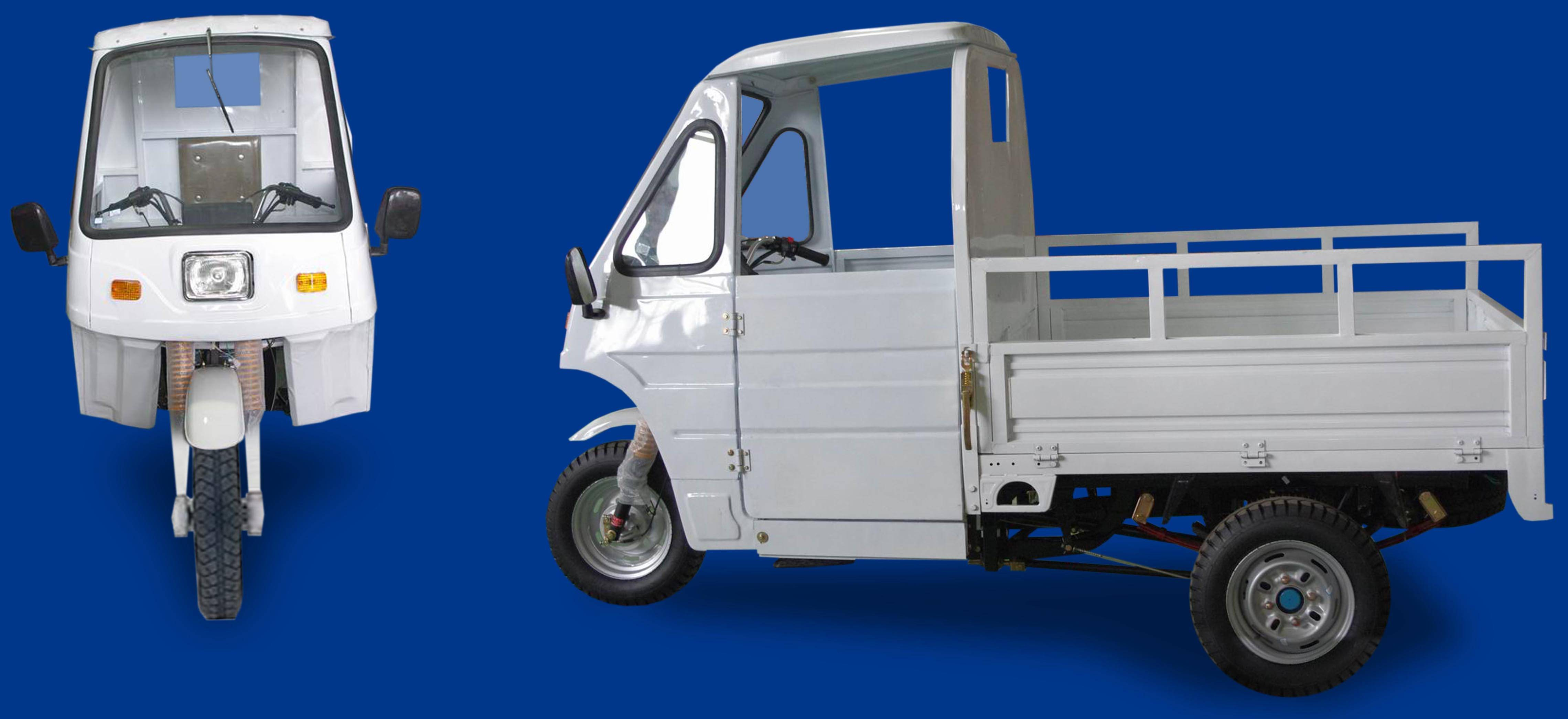 cargo tricycle with driver cabin and side doors