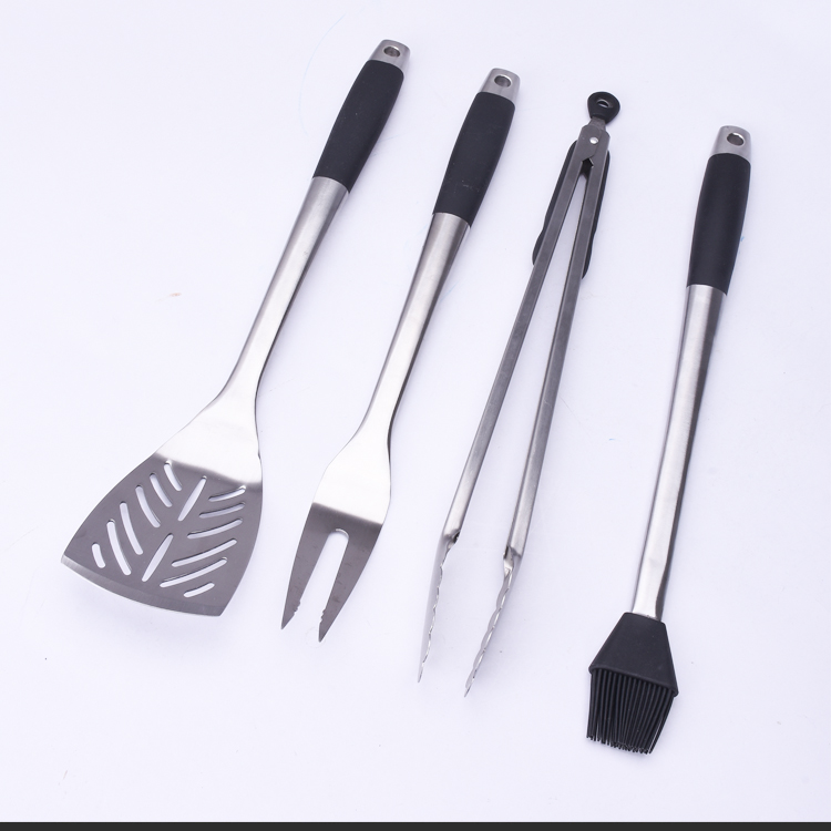 BNX0003-4 Stainless steel rubberized handle 4Pc BBQ Tool Set