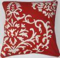 Crewel Pillow Barreoir White on Exotic Red Crewel (20x20)