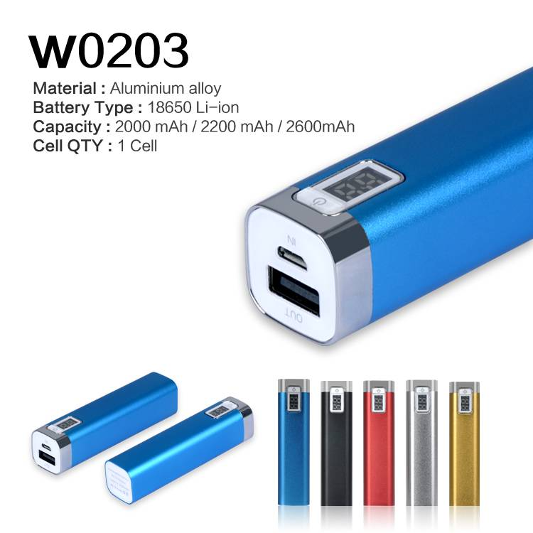 single 18650 samsung battery power bank with LCD for gifts