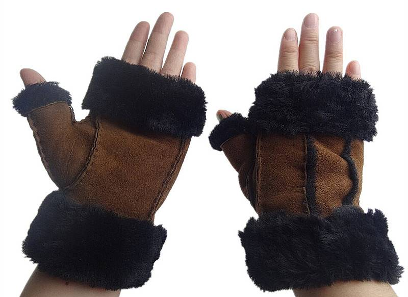 2014 fashion sheep skin double face leather fingerless gloves