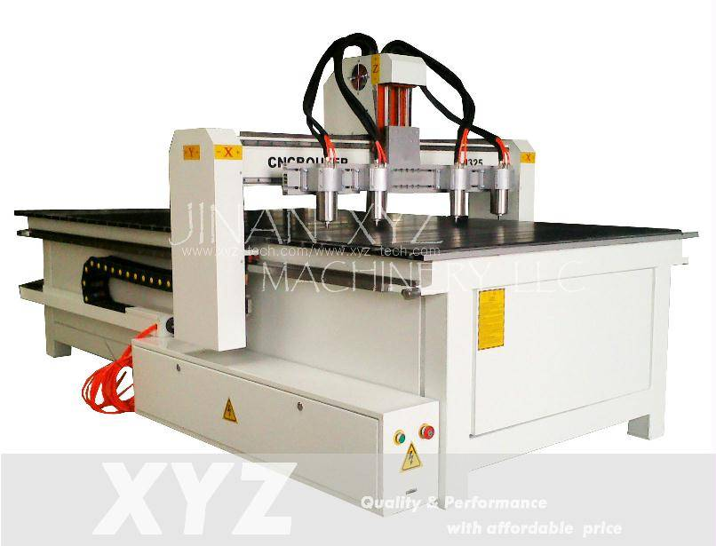 Wood CNC Router XYZ-1625 with 4 spindles