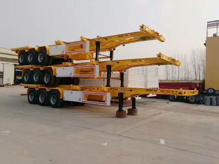 3 axles 20ft 40ft container platform flatbed semi trailer