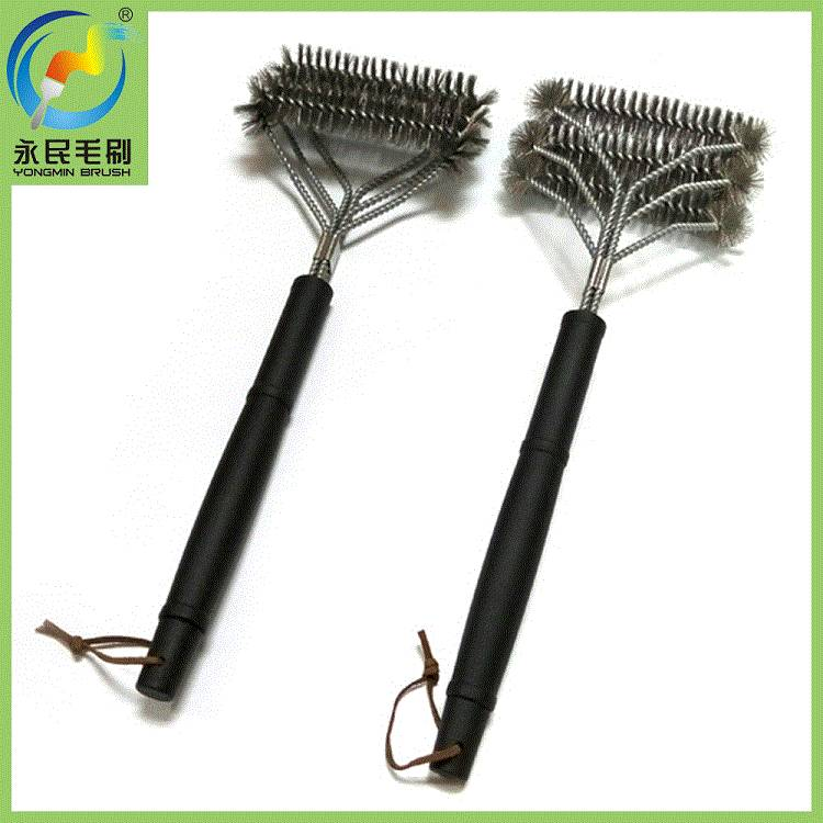 3-in-1 long handle stainless steel BBQ grill cleaning brush