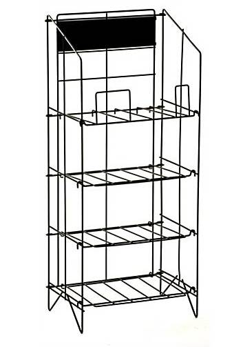 4-Tiered Wire Newspaper Rack for Floor, with Separate Header - Black