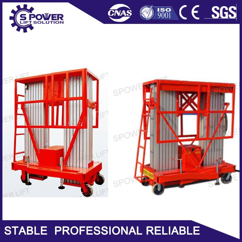 CE 10M mobile double mast aluminum man lift table for sale