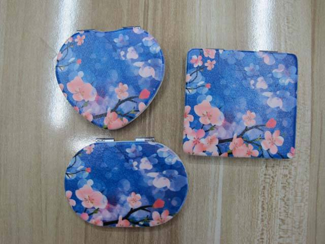 Flowers Printing PU Pocket Mirror LFM2201 Promotion Mirror