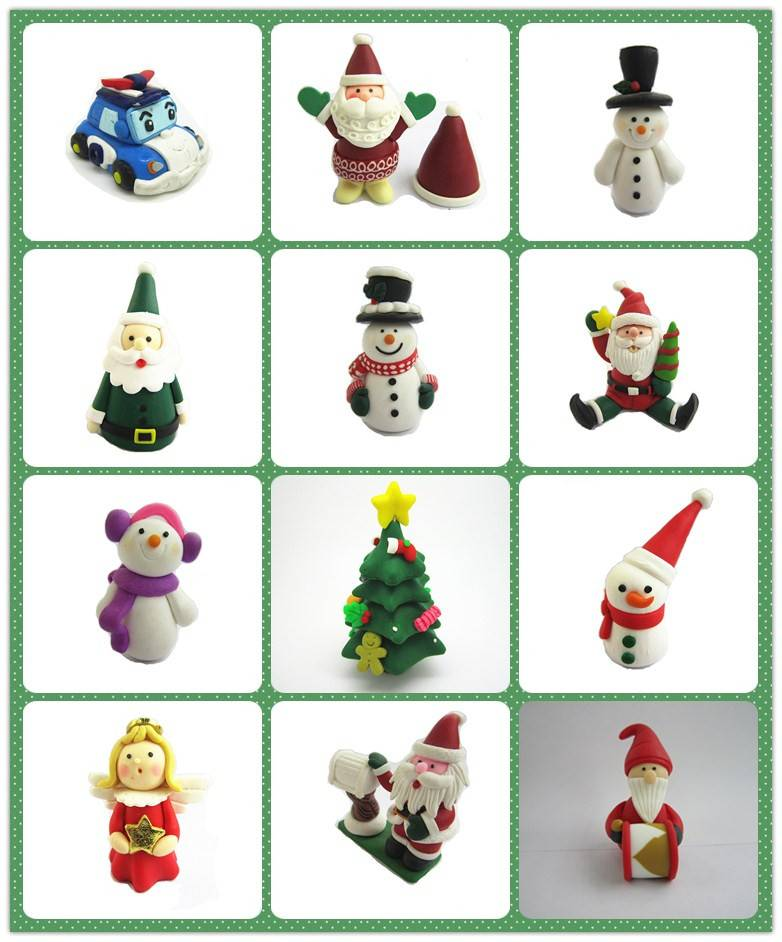 Polymer clay fimo Christmas snowman santa claus cake decoration