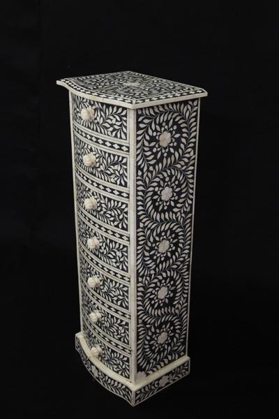 Bone Inlay 7 Drawer Cabinet