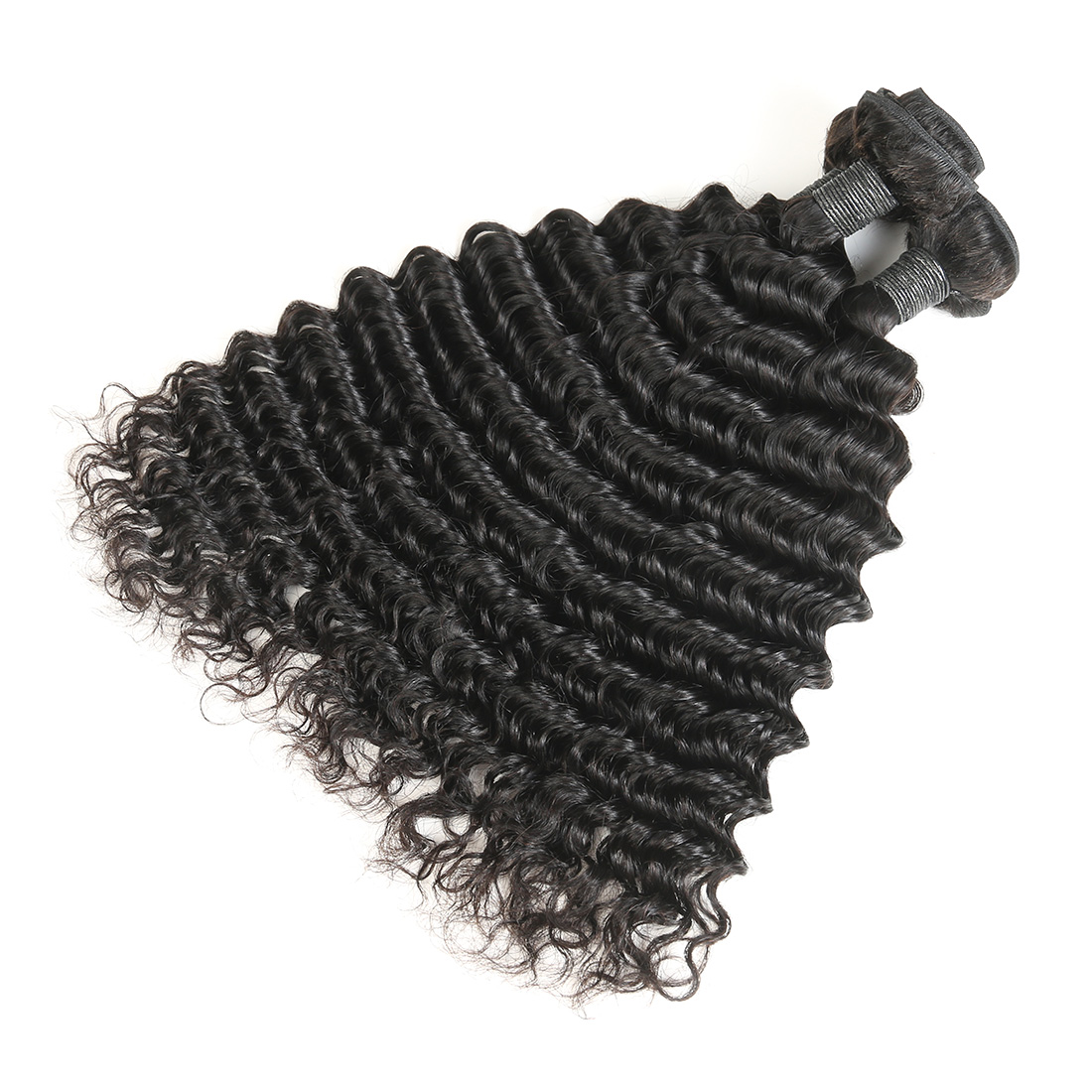9A Malaysian Deep Wave Human Virgin Hair Weave 3 Bundles With Lace Closure