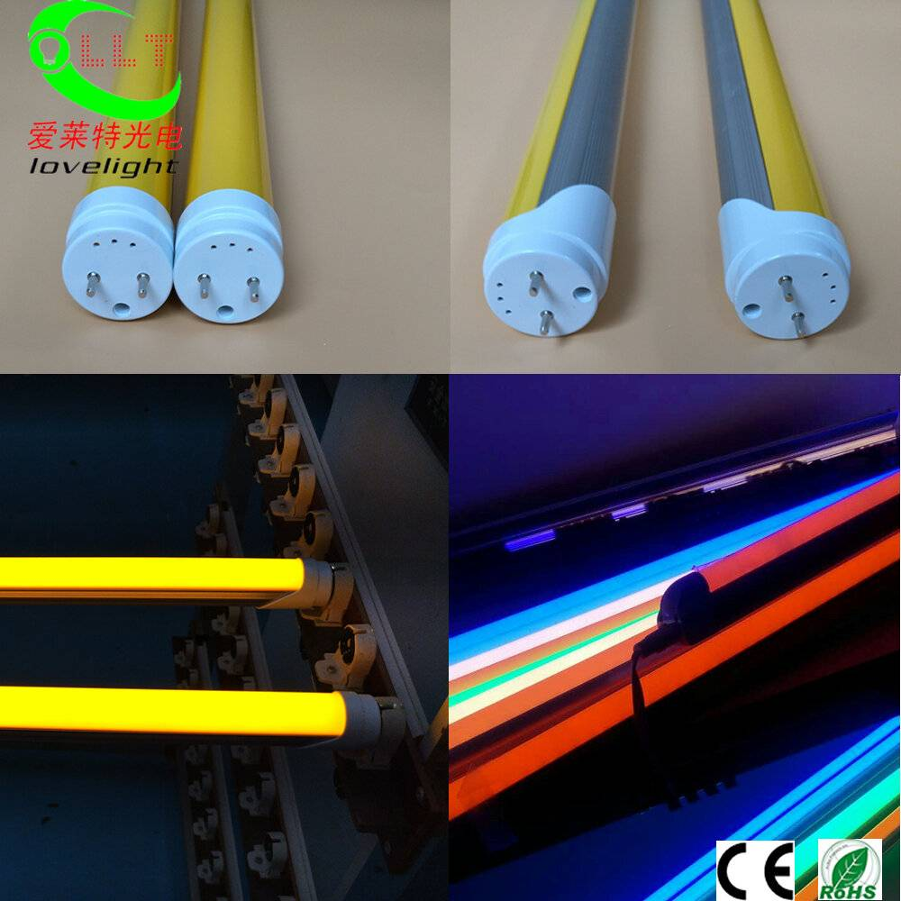 Yellow T8 LED Tube Anti-UV, UVproof, Print Workshop, Other Colors Available