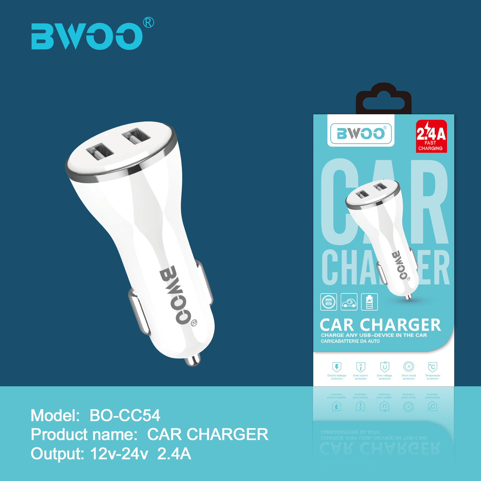 BWOO Hot Sale Car Charger with 2 USB