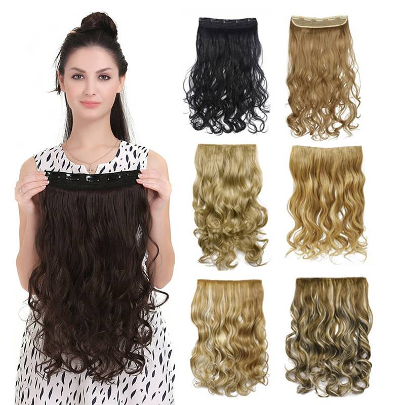 Sexy Long Curly Hair Clip In Hair Extension One piece 5 Clips