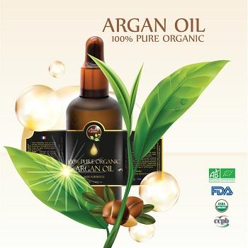 100% Bio certified Organic Argan oil in glass bottle with dropper: