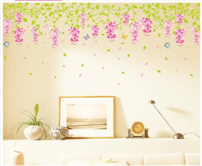 New Arrival Romatic Wisteria Flower Wall sticker Living room DIY Wall decal for Home Decor Size 50x7