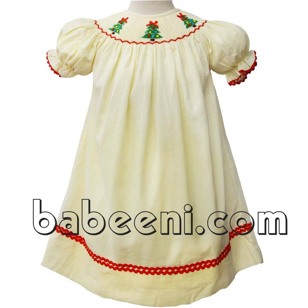 Pretty X-mas tree smocked bishop dress - BB437