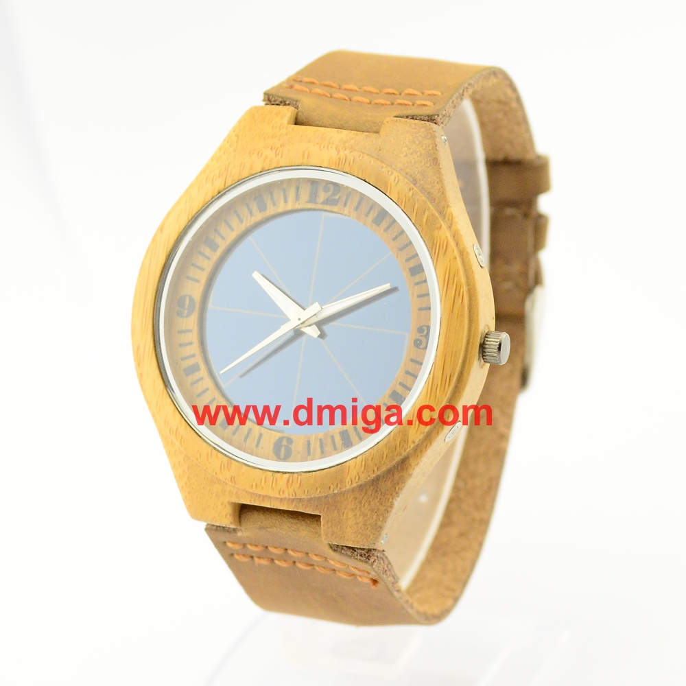 Genuine leather strap solar bamboo wrist watch round dial