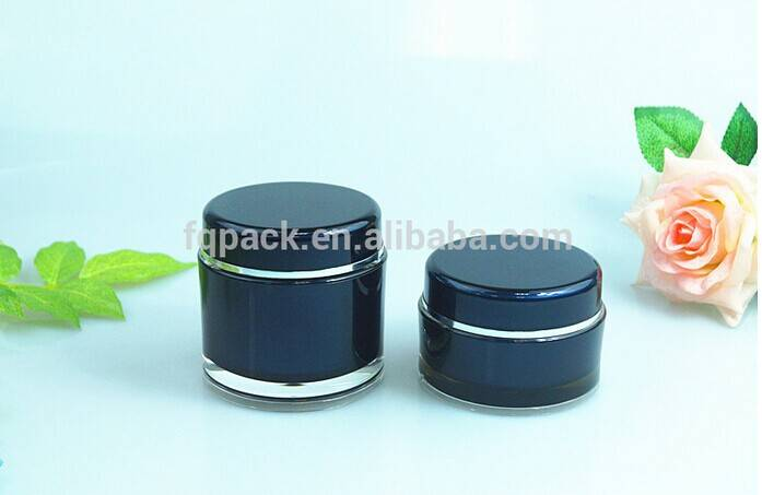Round black powder double wall acrylic jar