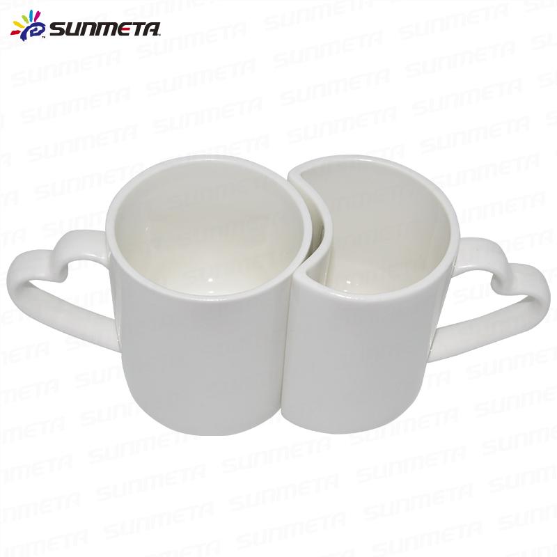 heart shape ceramic couple mug,wholesale white couple mug