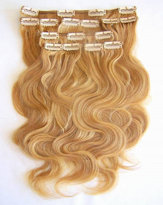 European Human Hair Clips on Hair Extension Natural Hair