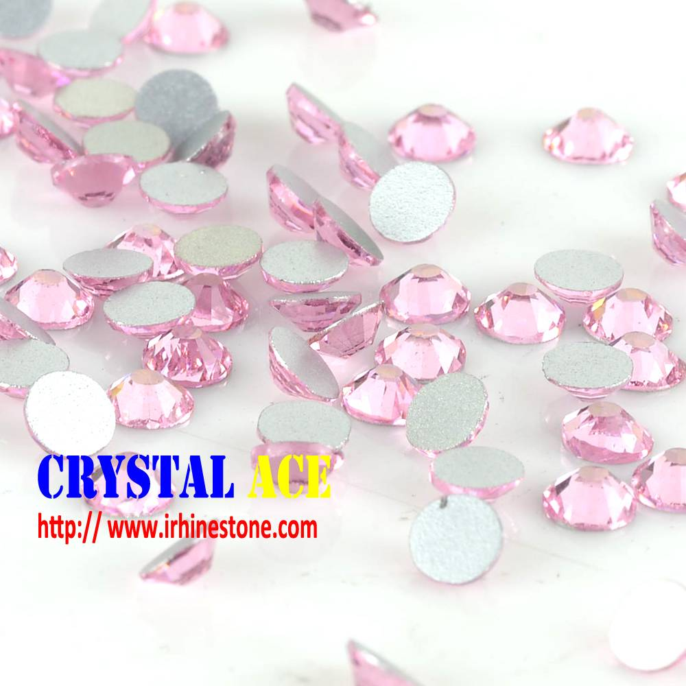 wholesale bulk pink non hot fix rhinestone, flatback cold fix stone, machine cut stones for nails
