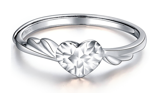 Heart And Wing Angel Love Sliver Wedding Ring