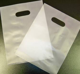 Frosted die cut handle plastic bags