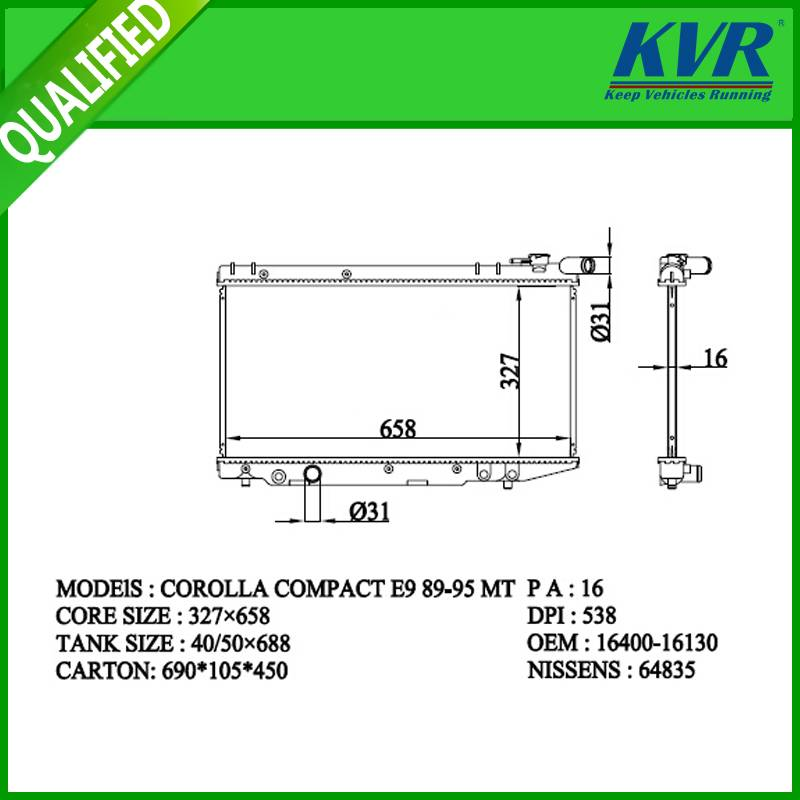 radiator FOR TOYOTA COROLLA COMPACT E9 89-95