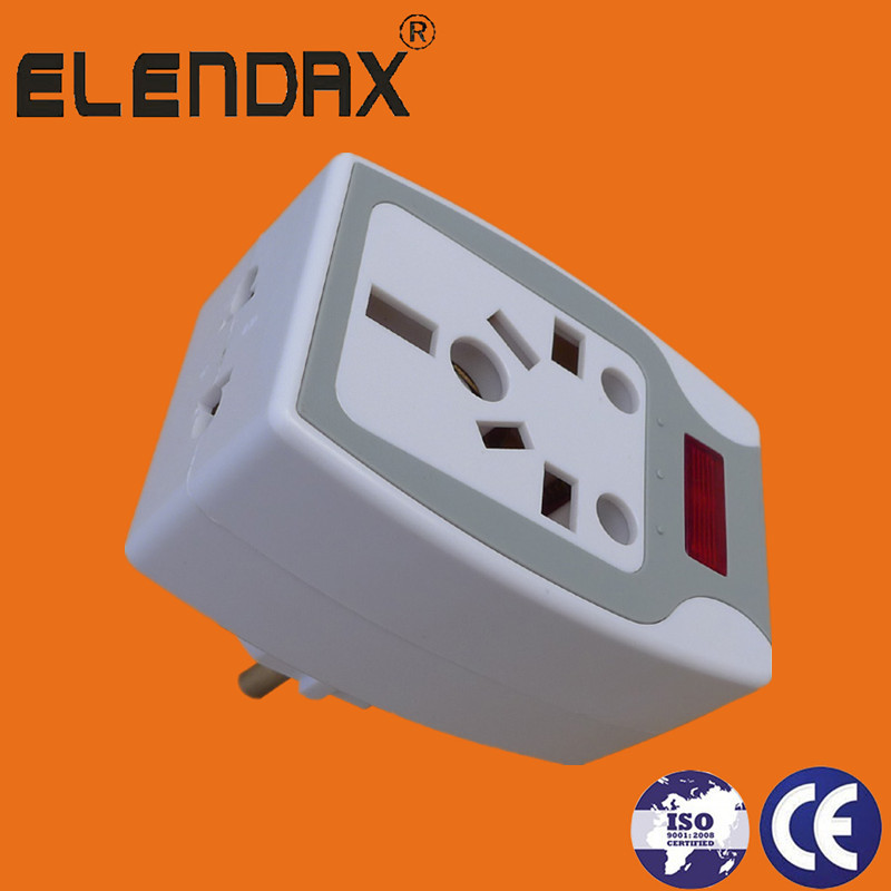 2 pin plug to universal socket with light(P7035)