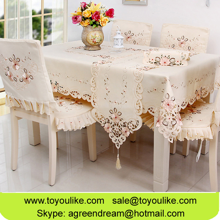 Toyoulike Fashion Hand Cutwork Embroidered Floral Dining Table Cloth Beige Chair Cover Cushion Cover