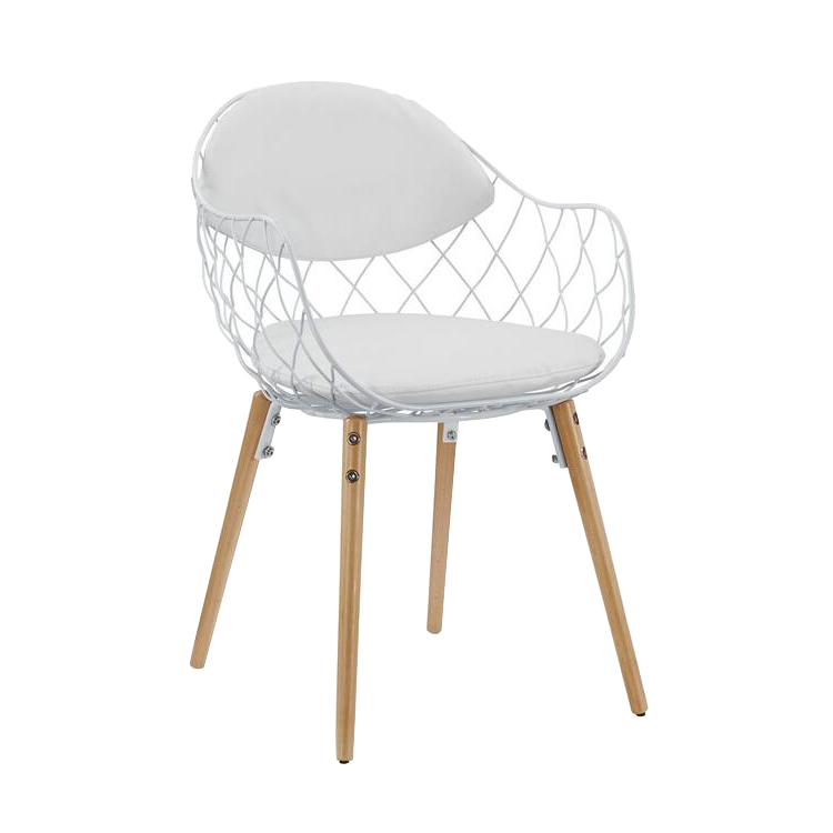 Contemporary White Fabric Upholstery Metal Wire Dining Chair