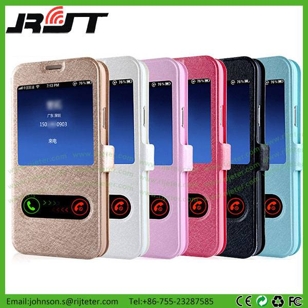Double View Window Flip PU Leather Cover Case for Samsung Galaxy S6