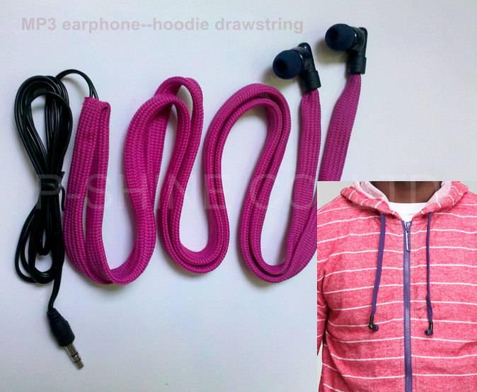 2013 new washable headphones waterproof earphones woven belt headphoneshoodie