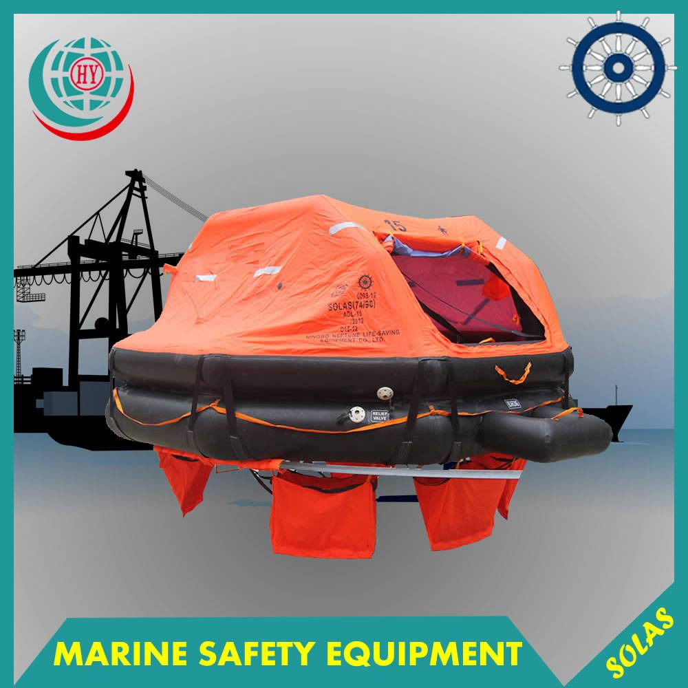 SOLAS approved marine 15 person inflatable life raft