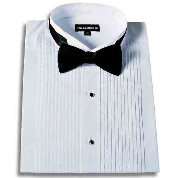 Men's Tuxedo Dress Shirt Wingtip Collar with Bow-Tie