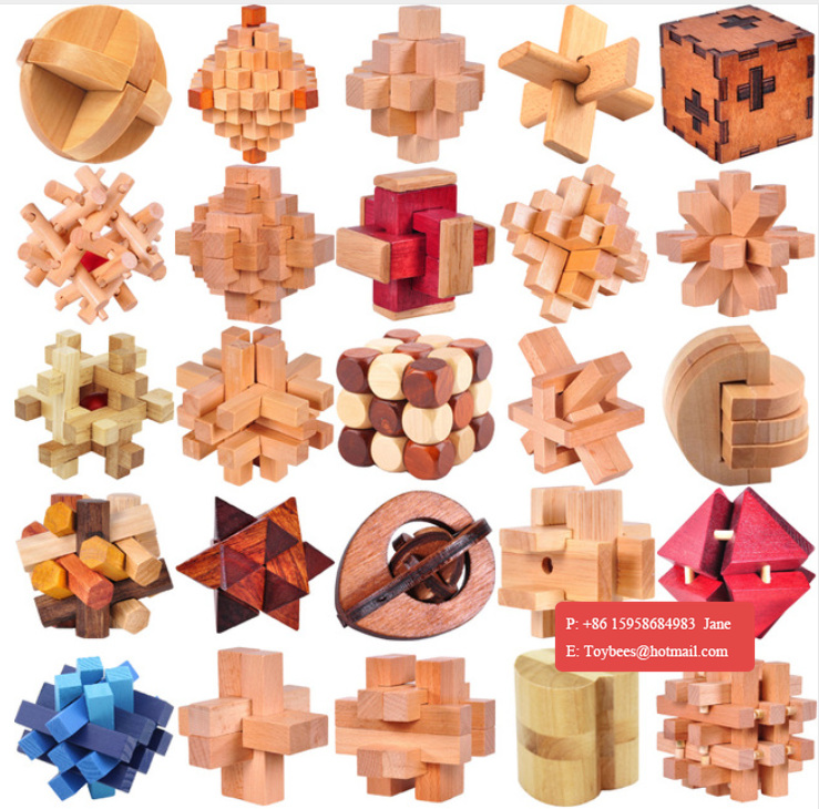 IQ 3D Wooden Brain Teaser Burr Interlocking Puzzle Game Toy for Adults Kid
