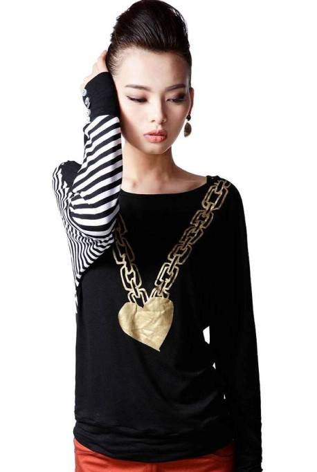 Asymmetric Stripes Cotton Cotton Casual Tops,Fashion Tee