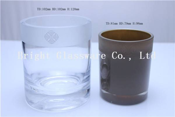 top sale press glass candle holder, candle container wholesale